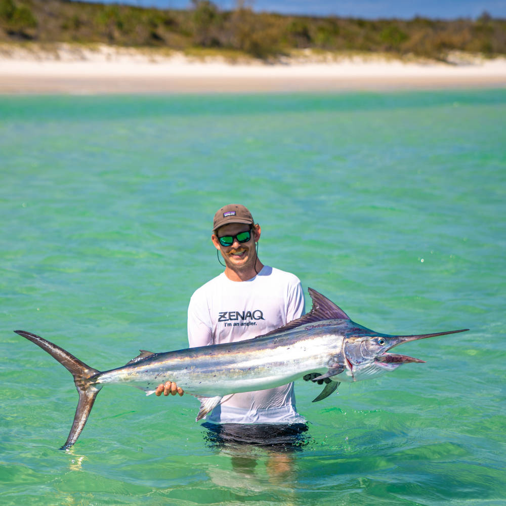 epic marlin caught on fraser island beach